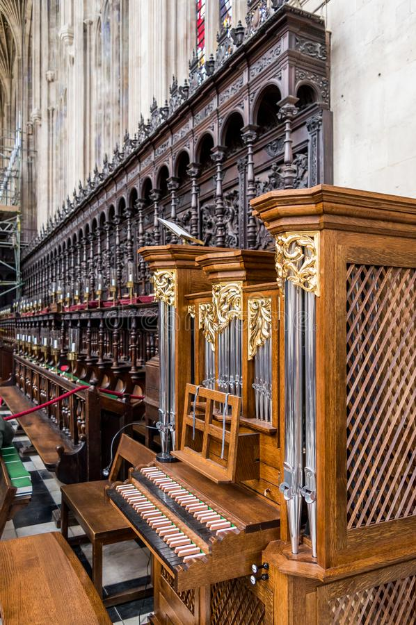 Het Koor binnen de Kapel van de Konings` s Universiteit, Cambridge royalty-vrije stock afbeelding