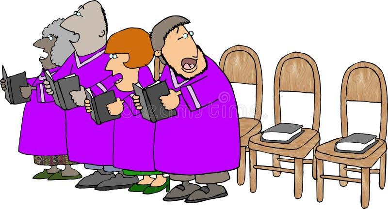 Het koor van de kerk met ontbrekende leden stock illustratie