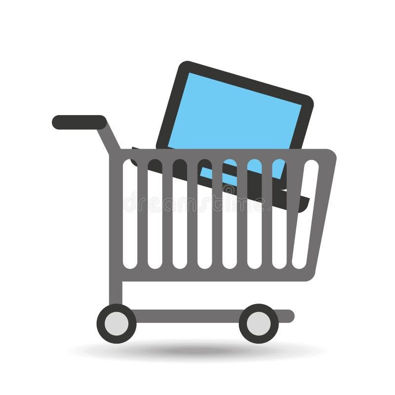 Het kopen karlaptop technologieontwerp stock illustratie
