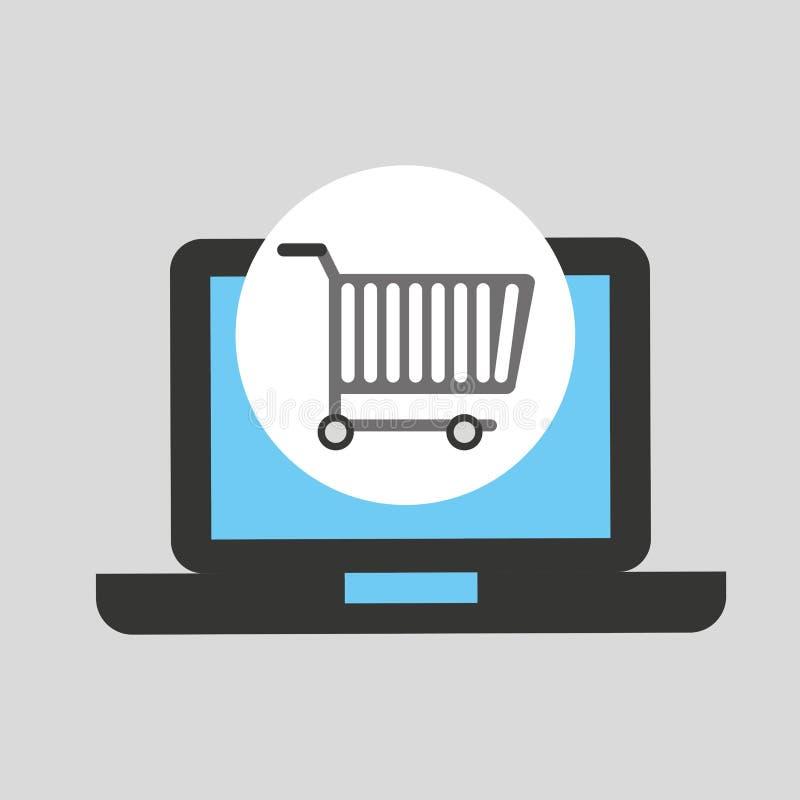 Het kopen karlaptop technologieontwerp royalty-vrije illustratie
