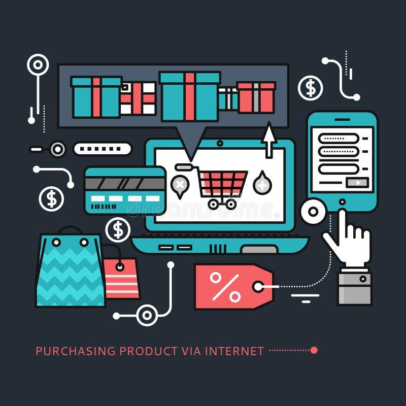 Het kopen, Leveringsproduct via Internet op Zwarte vector illustratie