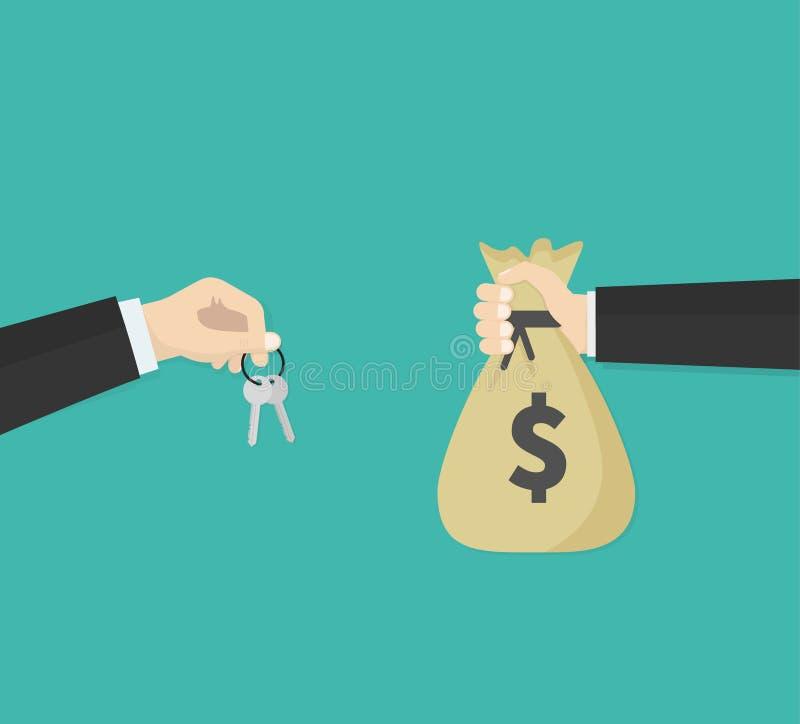 Het kopen van een bezit Mensen één houden een sleutel en mensen één houden moneybag geld Vector illustratie royalty-vrije illustratie