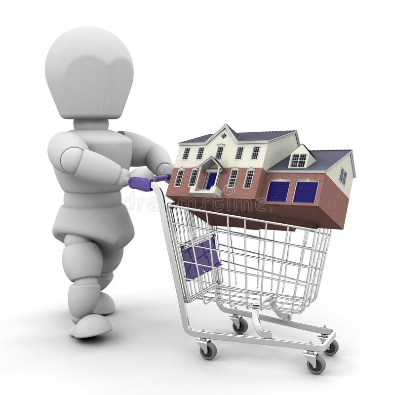 Het kopen van een huis royalty-vrije illustratie