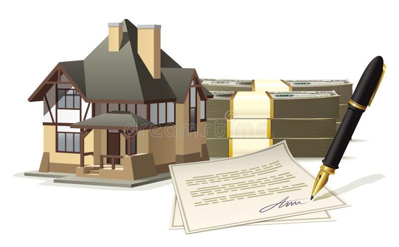 Het kopen van en het verkopen van een huis royalty-vrije illustratie