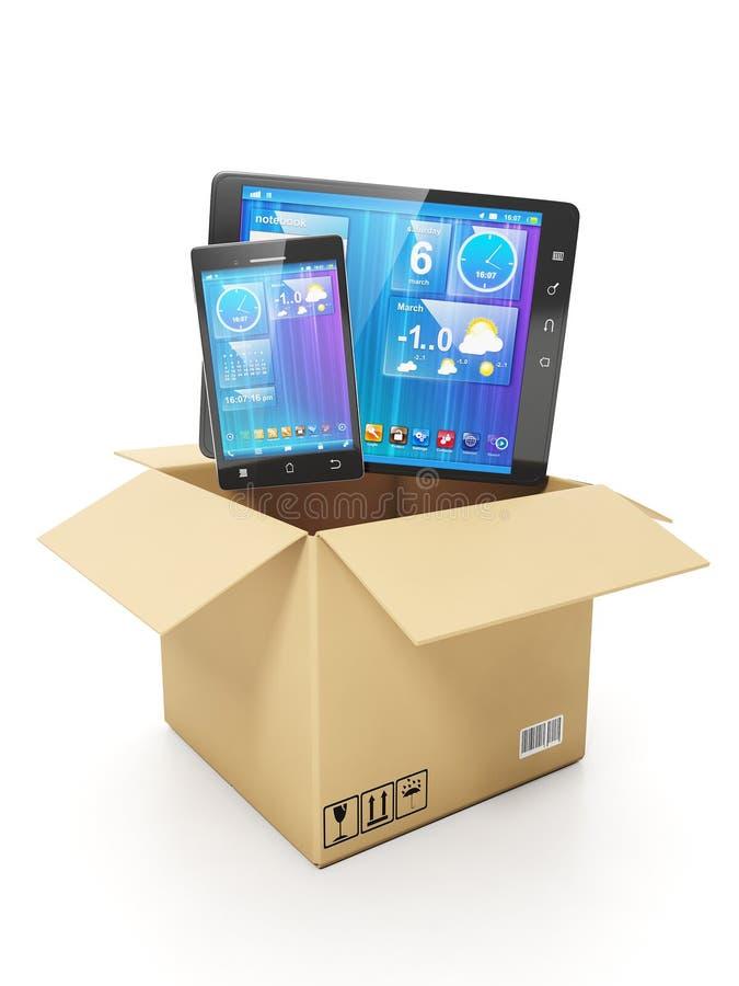 Het kopen van mobiel van elektronika. Mobiele telefoon en tabletcomputer vector illustratie