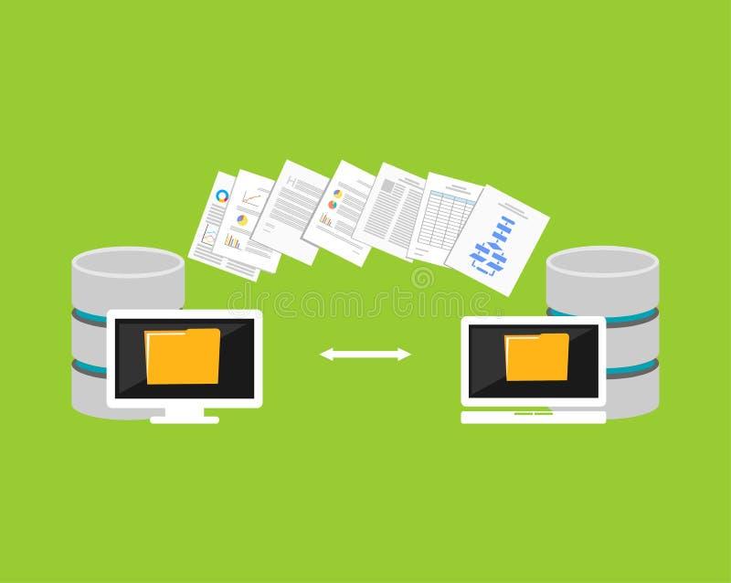Het kopiëren dossiersproces Dossiersoverdracht tussen apparaten De invoer of de uitvoergegevens van een ander gegevensbestand royalty-vrije illustratie