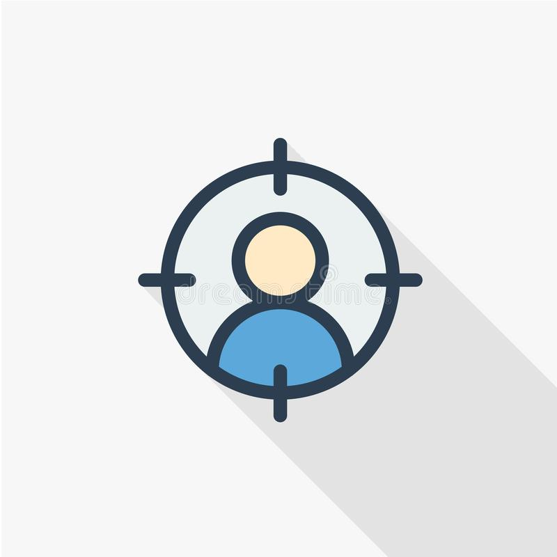Het koppensnellen, rekrutering, hervat onderzoek, baan, die het vlakke pictogram van de personeels dun lijn selecteren Lineaire v stock illustratie