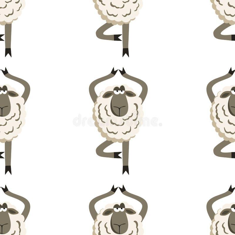 Het koppige Lam in Yogaboom stelt Vector vector illustratie