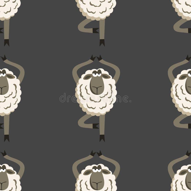 Het koppige Lam in Yogaboom stelt Vector stock illustratie