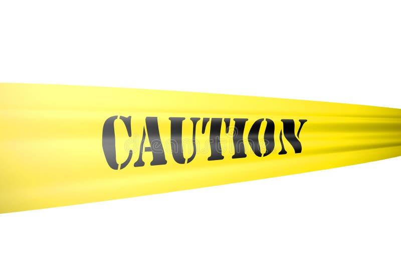 Het kordon van de voorzichtigheids tickertape stijl op gele band op wit stock illustratie