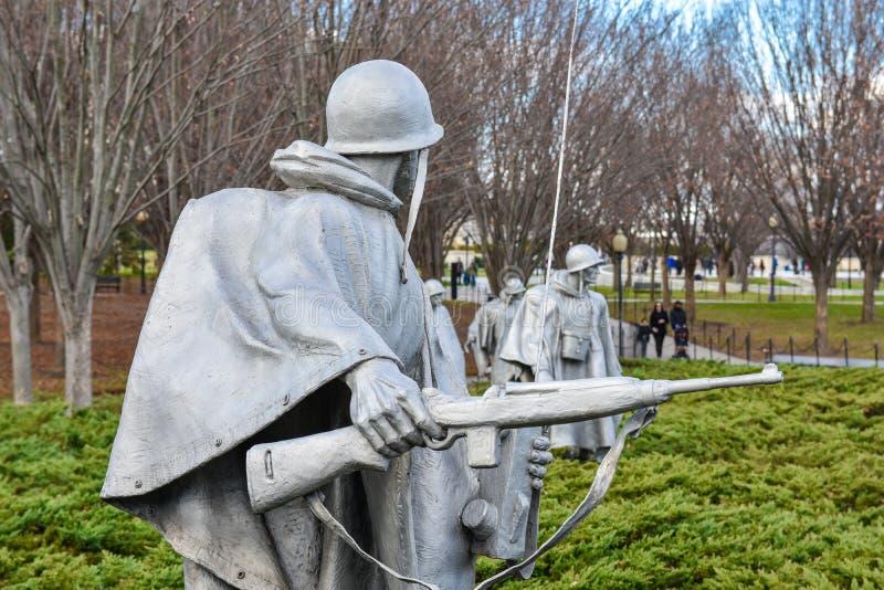 Het Koreaanse Gedenkteken van Oorlogsveteranen in Washington, gelijkstroom, de V.S. stock afbeelding