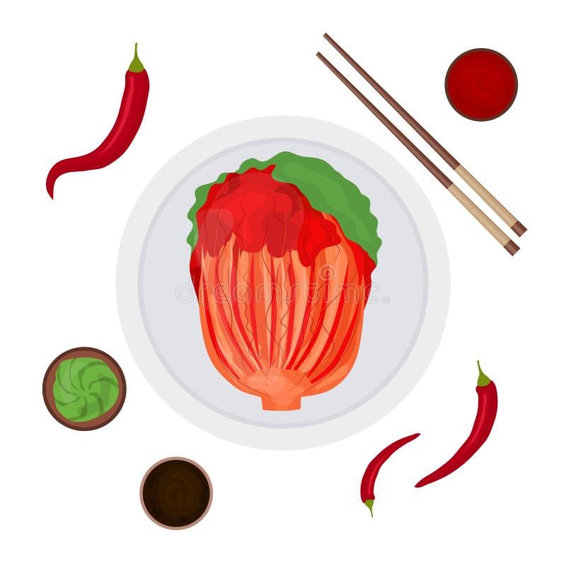 Het Koreaanse Traditionele Voedsel Kimchi van de beeldverhaalkleur en Geplaatste Elementen Vector royalty-vrije illustratie