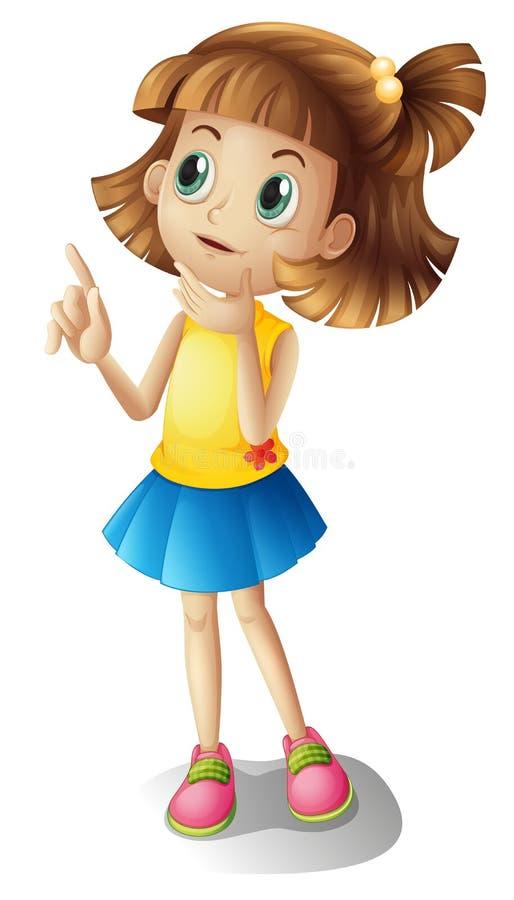 Het korte haired meisje denken vector illustratie