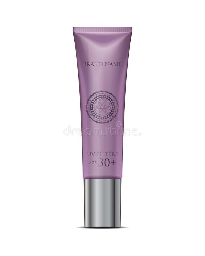 Het kosmetische model van de buisroom in purple Witte Plastic Buis Packagi royalty-vrije illustratie