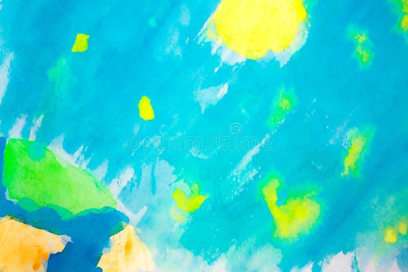Het kosmische landschap van Watercolour stock afbeelding