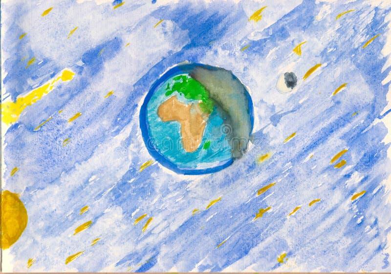 Het kosmische landschap van Watercolour stock foto's