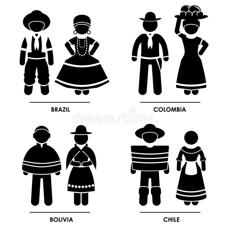 Het Kostuum van de Kleding van Zuid-Amerika royalty-vrije illustratie