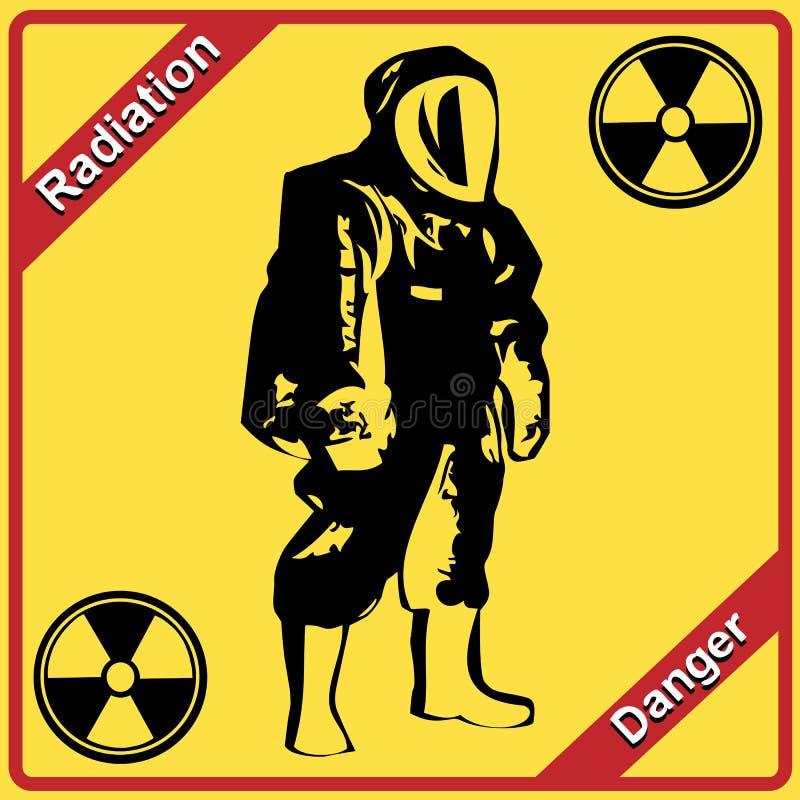 Het kostuum van de straling - tekenstraling. Gevaar. vector illustratie