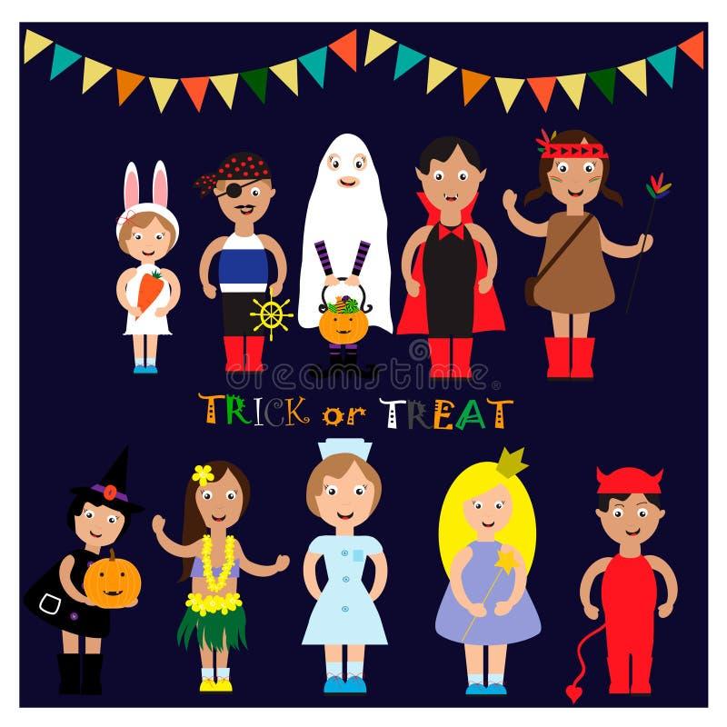 Het Kostuum van jonge geitjeshalloween Eps 10 vector illustratie
