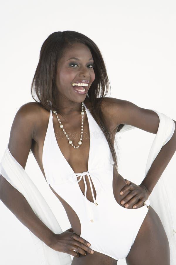 Het Kostuum van mannequinin white bathing royalty-vrije stock afbeeldingen