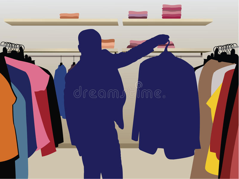 Het kostuumsilhouet van de mens in winkelvector royalty-vrije illustratie