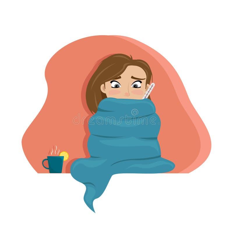 Het koude meisje verpakte zich in een deken met een thermometer Koud Seizoen Vlakke vectorillustratie royalty-vrije illustratie