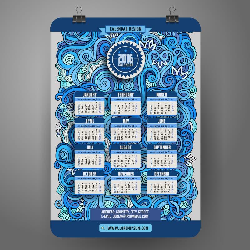 Het krabbelsbeeldverhaal krult sier bloemenkalender royalty-vrije illustratie