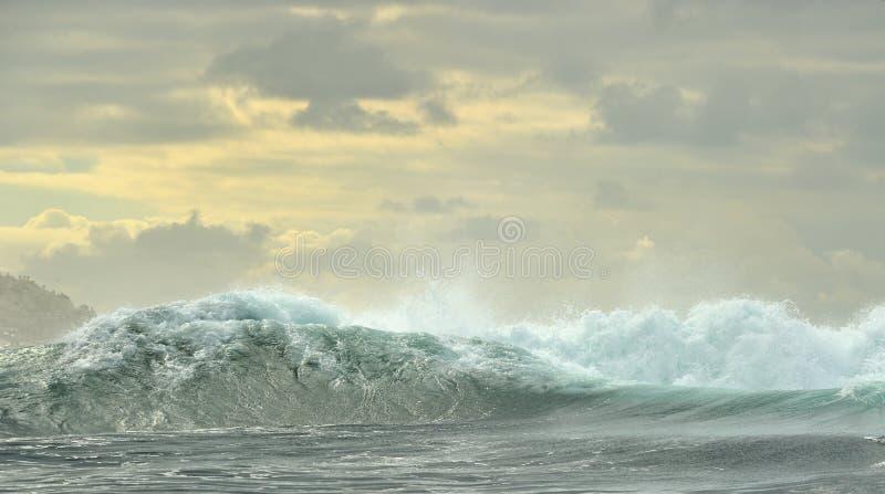 Het krachtige oceaangolven breken Golf op de oppervlakte van de oceaan stock fotografie