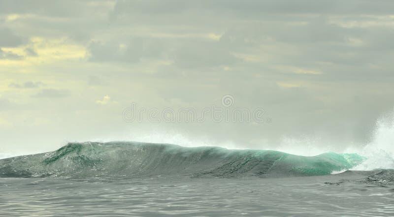 Het krachtige oceaangolven breken Golf op de oppervlakte van de oceaan stock foto
