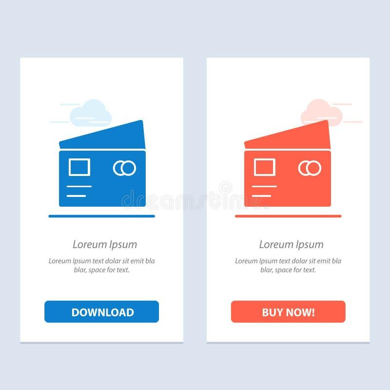 Het krediet, Globaal Debet, betaalt, het Winkelen Blauwe en Rode Download en koopt nu de Kaartmalplaatje van Webwidget stock illustratie