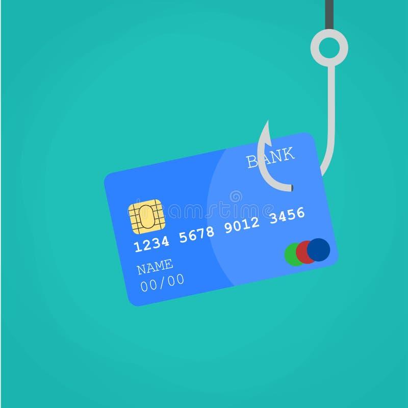Het krediet of het debetkaart van gegevensphishing bij de visserij van haak royalty-vrije illustratie