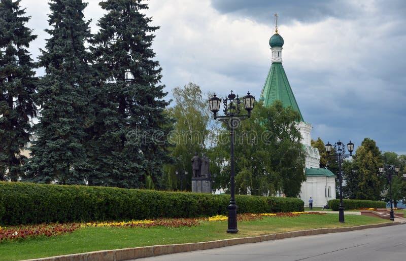 Het Kremlin in Nizhny Novgorod, Rusland Michael Archangel-kathedraal stock afbeelding