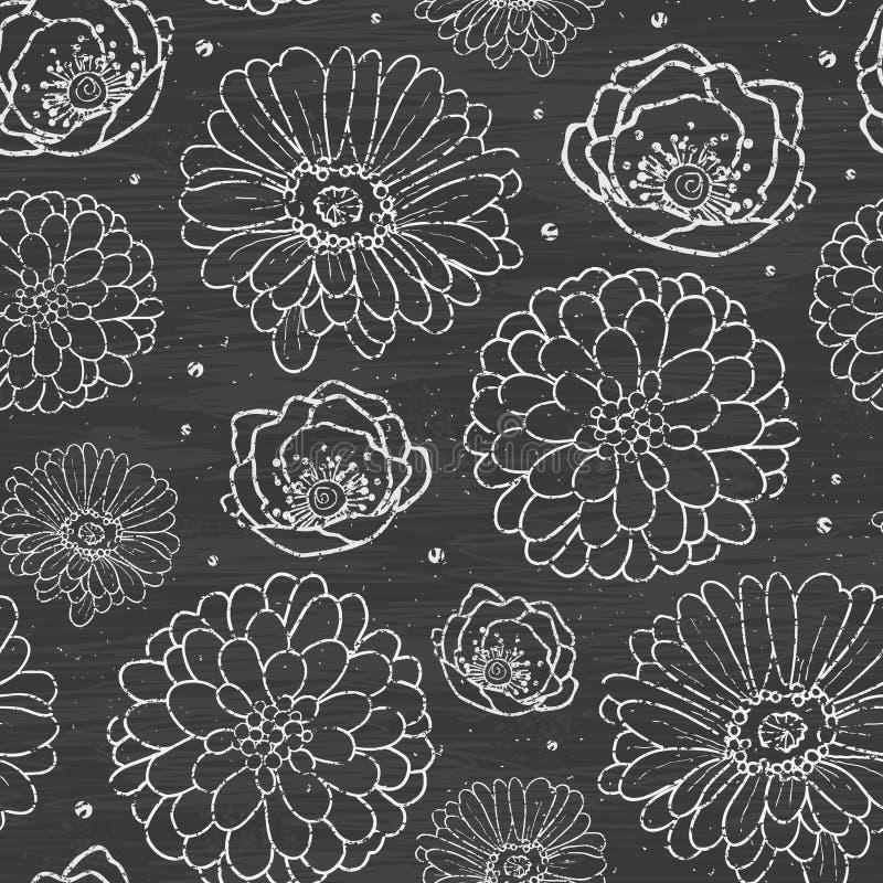 Het krijt bloeit bord naadloos patroon vector illustratie