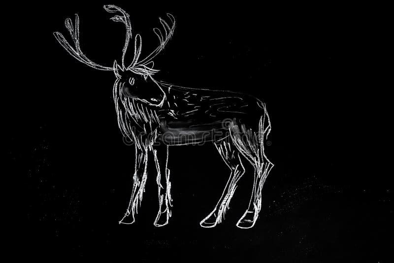 Het krijt getrokken silhouet van Kerstmisherten op bord stock illustratie