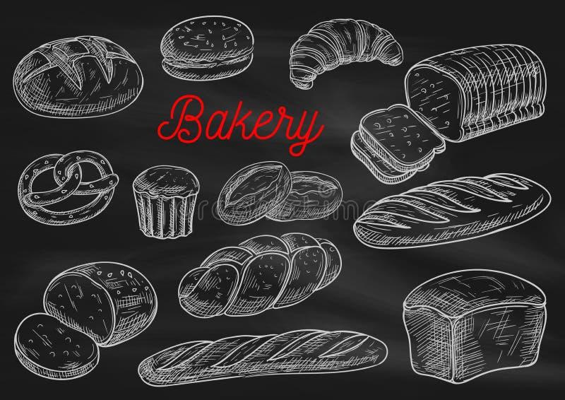 Het krijtschetsen van bakkerijproducten op bord stock illustratie