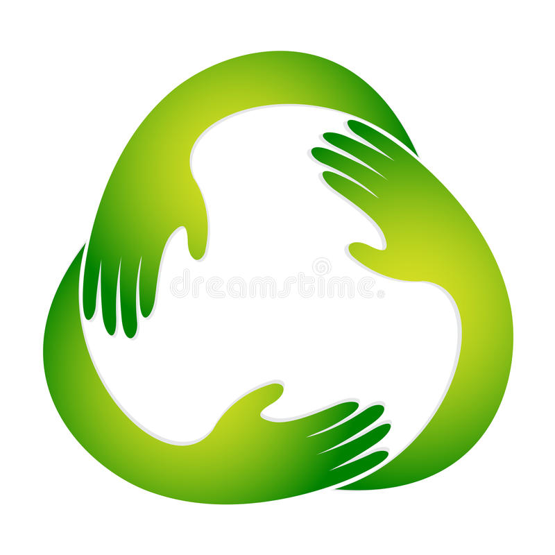 Het kringloopsymbool van de hand vector illustratie