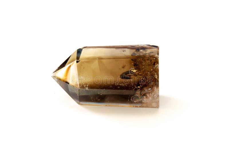 Het kristal van het Smokeykwarts over wit stock fotografie
