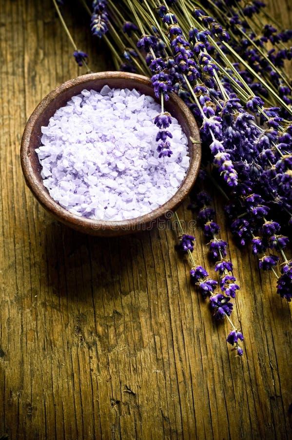 Het kruid en het zout van de lavendel royalty-vrije stock foto's