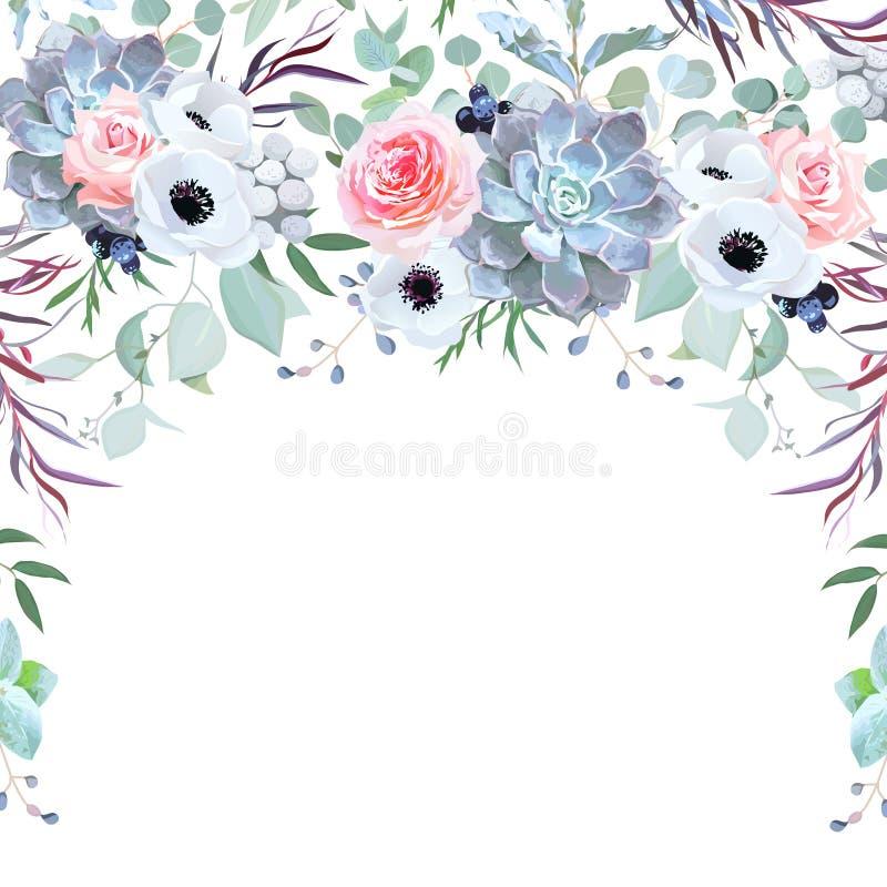 Het kruidendiekader van de halve cirkelslinger van bloemen wordt geschikt stock illustratie