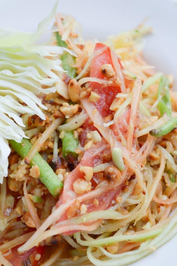 Het kruidige gezonde voedsel van Thailand van de Papajasalade royalty-vrije stock afbeeldingen