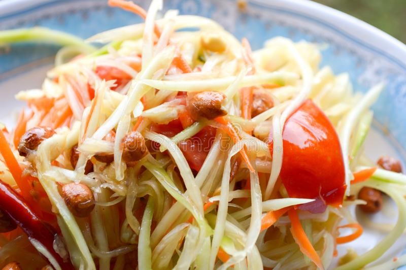 Het kruidige gezonde voedsel van Thailand van de Papajasalade stock foto's