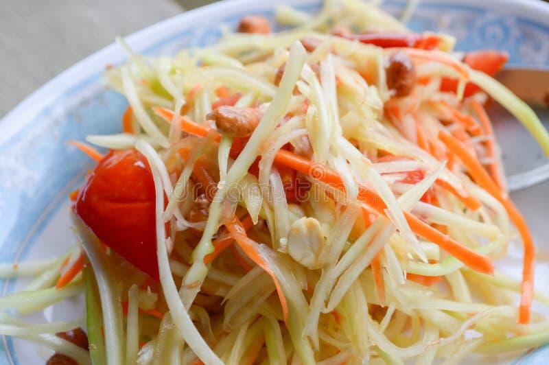 Het kruidige gezonde voedsel van Thailand van de Papajasalade stock fotografie