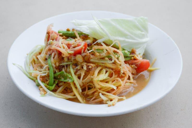 Het kruidige gezonde voedsel van Thailand van de Papajasalade stock afbeelding