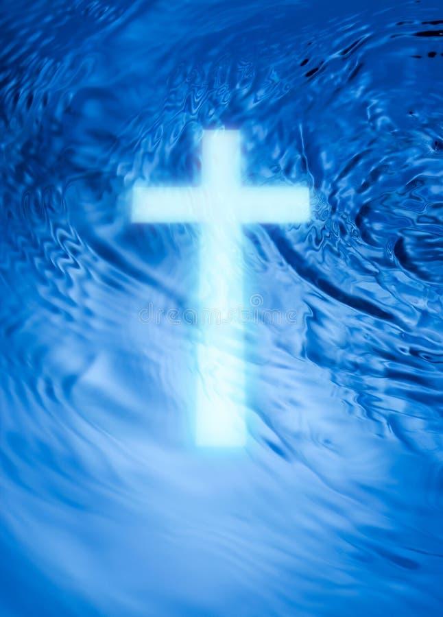 Het Kruis en het Water van de godsdienst stock fotografie