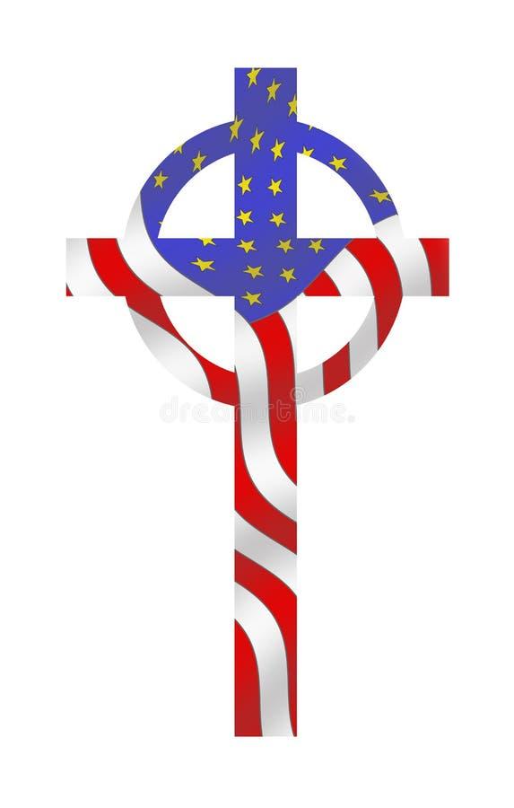 Het Kruis van de vlag, in God die wij hebben vertrouwd op stock illustratie