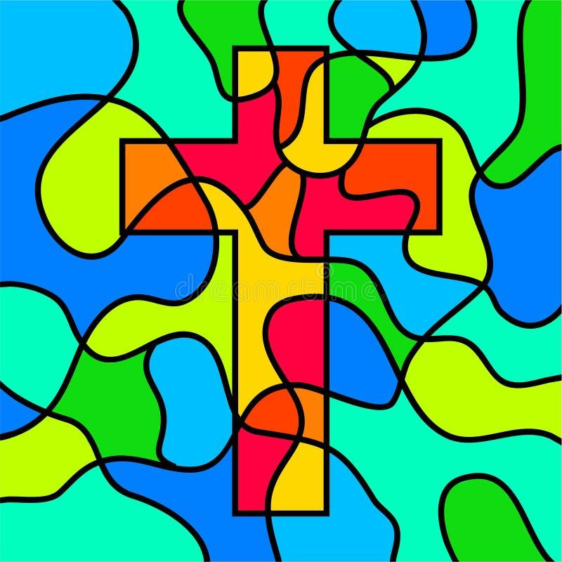 Het kruis van het gebrandschilderd glas stock illustratie