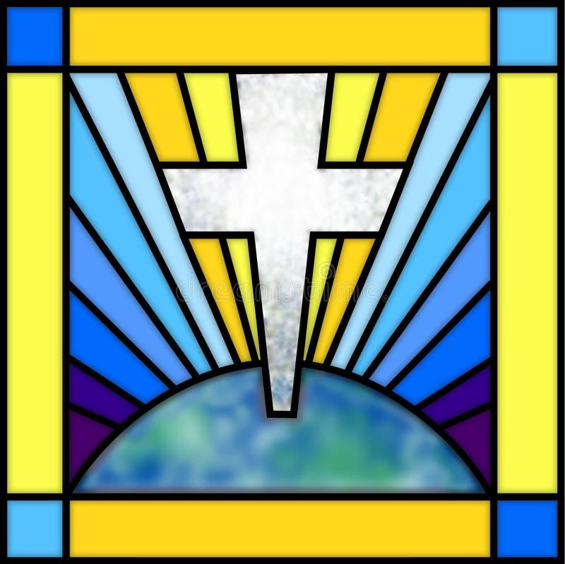 Het Kruis van het gebrandschilderd glas vector illustratie