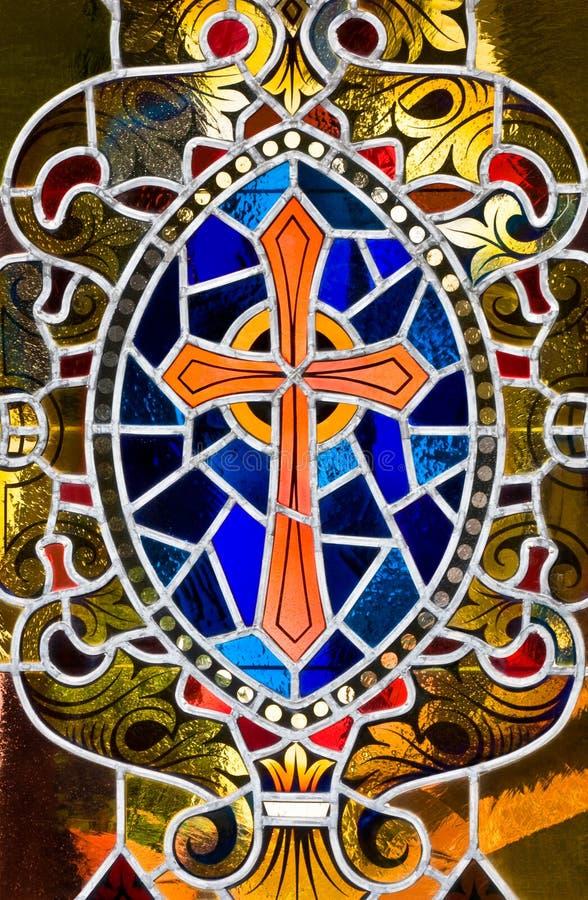Het Kruis van het gebrandschilderd glas royalty-vrije stock foto