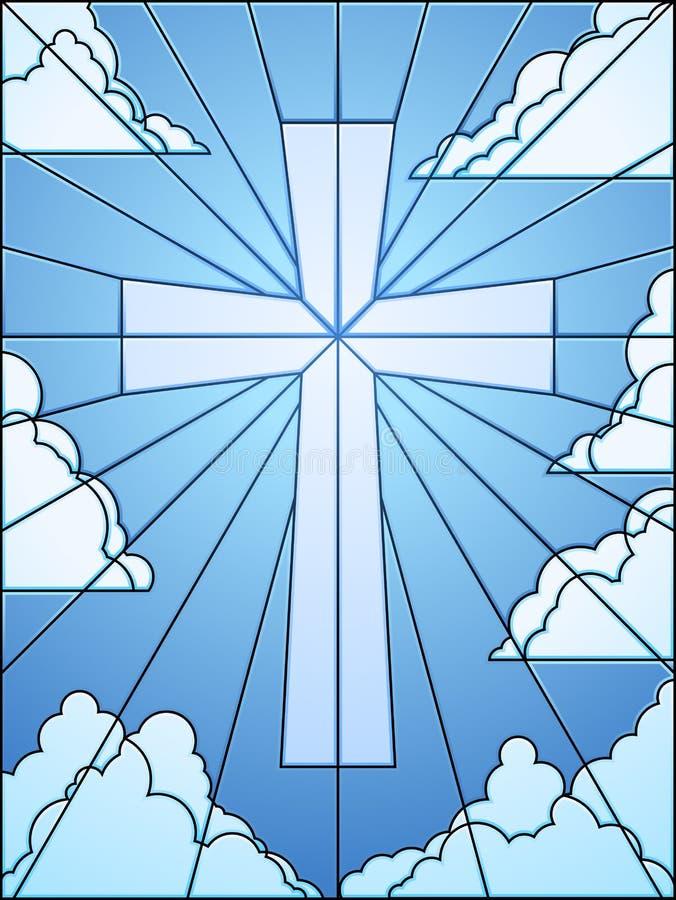 Het kruis van het gebrandschilderd glas in hemel royalty-vrije illustratie