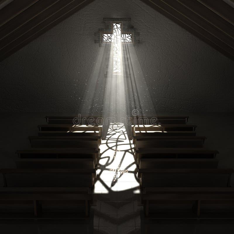 Het Kruisbeeldkerk van het gebrandschilderd glasvenster vector illustratie